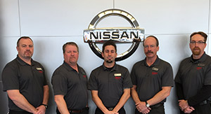 Meet Our Service Management. Starting Left: Brain, Andy, Mike, Service Manger Dan Melloy, and service adviser Josh.